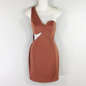 Mystic camel Tan cutout one shoulder dress